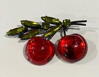 Vintage AUSTRIA Signed Green Red Glass Cherry Rhinestone Flower Pin Brooch