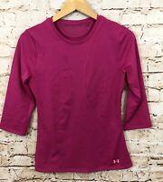 Under Armour womens medium heat gear shirt pink 3/4 sleeve mesh back neck DF