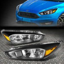 For 2017 2018 Ford Focus Gen3 Pair Black Housing Amber Side Headlight Lamp Set Fits
