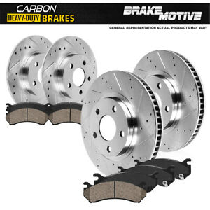 For Ram Promaster 1500 Front+Rear Drill Slot Brake Rotors & Carbon Ceramic Pads