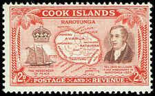 Scott # 133 - 1949 -  ' Rev. John Williams,Messenger of Peace,Map of Raratonga '