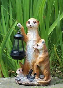 Garden Ornament Meerkat Solar Powered Lantern Decorative  Animal Light Up LED