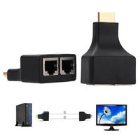 2pcs HDMI Extender By Cat 5e/6 Cable HDMI male to 2 RJ45 Female Adapter