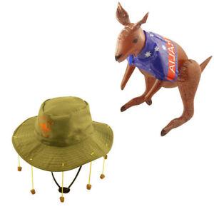 Adult Australian Cork Hat & Inflatable Kangaroo Aussie Australia Fancy Dress