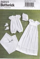 Butterick Sewing Pattern Infants Romper Dress Sash Hat Booties nbm - Xlg B6045