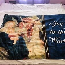 New listing Christmas Large Banner Joy to the world Nativity Holy Family Angels Mary Jesus
