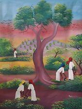 "Haitian Folk art painting famous artist Aland Estime Haiti HARVEST SCENE 30""X40"""