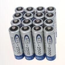 Heisses Hohe Qualität 16 pcs BTY NiMH AA 2500mAh 1.2V Wiederaufladbar Batterie