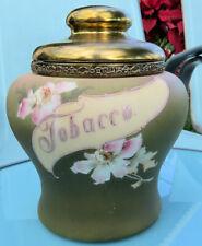 C. F. Monroe NAKARA Wave crest Hand Painted HUMIDOR Tobacco CIGAR Jar w Lid