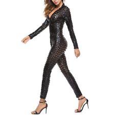 Lady Bodysuit Metallic Shiny Jumpsuit Zipper Sheer Faux Leather Catsuit Clubwear