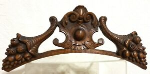 Cornucopia scroll leaves carving pediment Antique french architectural salvage