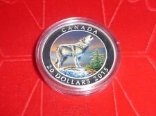 2015 Wolf $20 Fine 99.99% Silver 1 Oz Colour Coin - As Issued By RCM