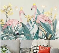 Wall stickers Tropical Plant Leaves Flamingo Decal Art kids Removable Decor