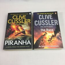 2 x Clive Cussler Books The Race and Piranha Paperback Book Bundle