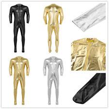Mens Wet Look Catsuit Zip Full Body Leotard Bodysuit Stretchy Jumpsuit Nightclub