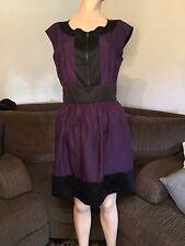Donna Karan DKNY new york purple black dress sz 10