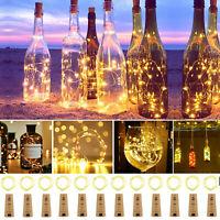 6/12tlg 20LED Flaschenlicht Korken mit LED Lichterkette Weinflasche Licht Akku
