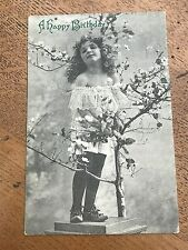 early 1900s  postcard ! a happy birthday -  young girl ( art series 1609 )