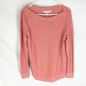 NEW Ann Taylor Loft Sweater Size Small Pink Textured Cotton Long Sleeve NWT