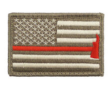Firefighter Axe US Flag Thin Red Line Hook & Loop Morale Tags Patch American SUB