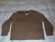 Authentic Gap Brown Beige Merino Wool V Neck Sweater Mens Size XL