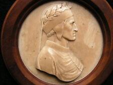 ancien medaillon en pierre 19eme representant dante de profil