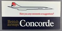 BRITISH AIRWAYS CONCORDE COMMENTS & SUGGESTIONS FORM VINTAGE 1970'S CROWN LOGO