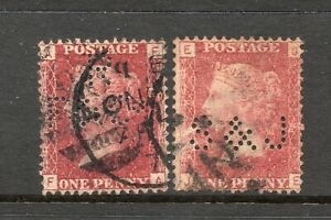 2 Used Queen Victoria 1d Red Plate Perfins As Scanned 174 R/F&Co And 179 F&J
