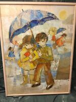 Edith Ferullo Original Oil Painting Large Framed 38.5 X 50.5  Inches 1974 Signed