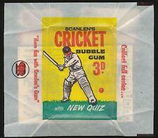 1965 Scanlens Wrapper Cricket Bubble Gum Near Mint r