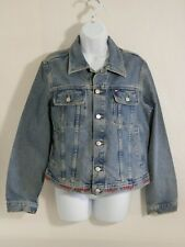 Vintage Tommy Hilfiger Unisex Jean Jacket Sz. Large Embroidered Band