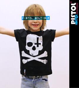 Eau Pistol Boutique Enfants Garçons Filles Crâne Tête de Mort Croix T-Shirt