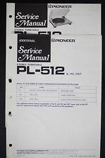 PIONEER PL-512 Original stéréo tourne-disque Manuel de service / Diagram +