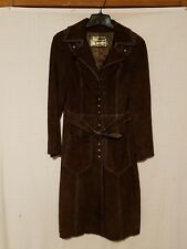 Vintage Retro Montgomery Ward The Tannery Suede Leather Women's Long Coat 9/10