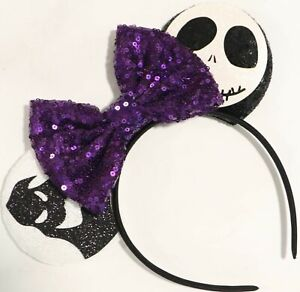 Halloween Web/Jack Minnie Mouse Sequin Ears  Mickey Mouse Halloween HANDMADE
