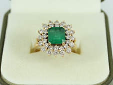 Diamond & Emerald Halo Ring 18ct Gold Ladies Size O 750 5.6g Ey57
