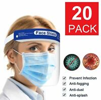 20 Pack Safety Full Face Shield Reusable FaceShield Clear Washable Anti-Splash