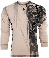 AFFLICTION Men LONG SLEEVE T-Shirt WALKING DEAD Skulls SAND Tattoo Biker $68 NWT