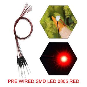 L0805R 20pcs Pre Wired RED SMD 0805 Led Lamp Light Set 12V ~ 18V NEW