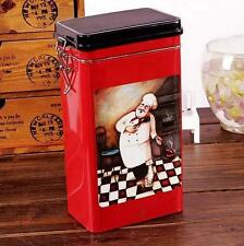 Retro Large Red Chef Cook Kitchen Coffee Tea Sealed Container Jar Tin Metal
