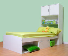 KIDS CABIN BED WITH STORAGE AREA - YORK BED + BED END IN WHITE (R87W+R85W)