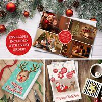 Personalised Christmas Cards Pack / Photo / Envelopes / Folded / Xmas / Greeting