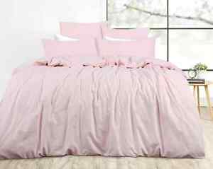 Shabby Hamptons Girls Kids Pink Linen Single Bed Doona Duvet Quilt Cover Set New