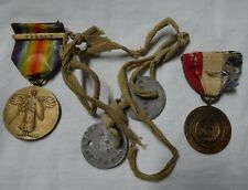 WWI Dog Tags Named Town Medal Everett MA Victory Medal with France Bar Grouping