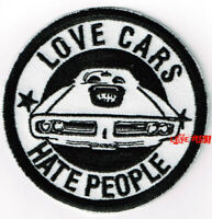 VINTAGE MUSCLE CAR HOT ROD CAR EMBROIDERED IRON ON PATCH LOVE CARS HATE PEOPLE