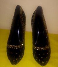 Beautiful Alba Platform Stilettos  - Black Velvet w/Gold Sequins - Size 10