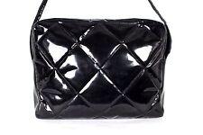 CHANEL Vintage Black Quilted Patent Leather Crossbody Messenger Bag