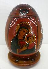 alte Ei Ikone Holz Maria mit Kind auf Ständer H11cm