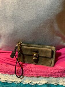 Coach Taupe Suede Brown Leather Trim Zip Flap Snap Wallet Clutch Purse Wristlet