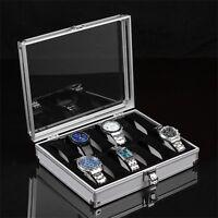 Aluminium 12 Grid Wrist Watch Display Case Box Jewelry Storage Organizer Holder